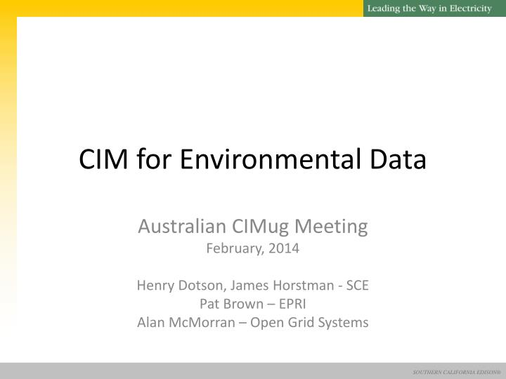 Cim for environmental data
