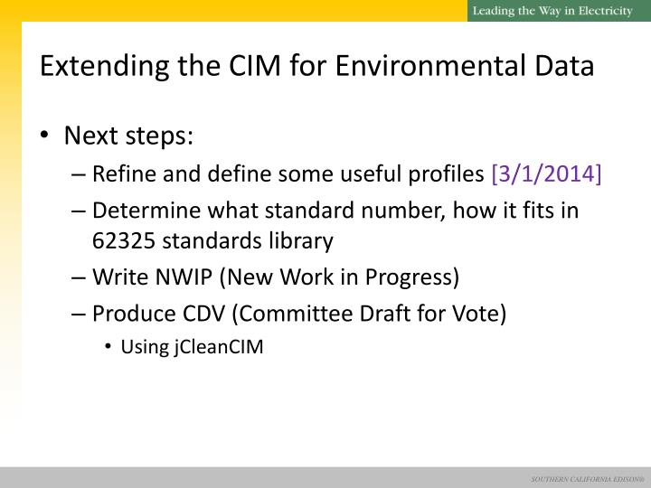 Extending the CIM for Environmental Data