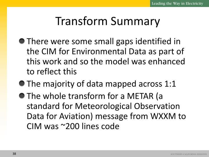 Transform Summary