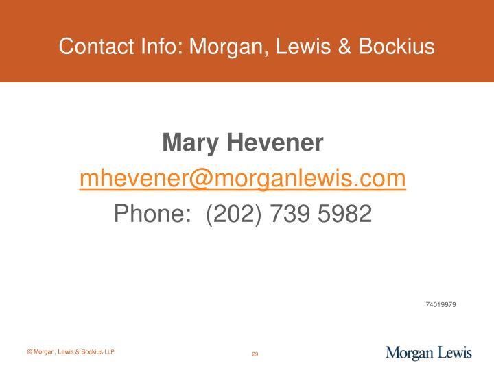 Contact Info: Morgan, Lewis & Bockius