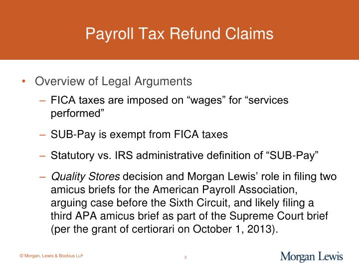 Payroll tax refund claims