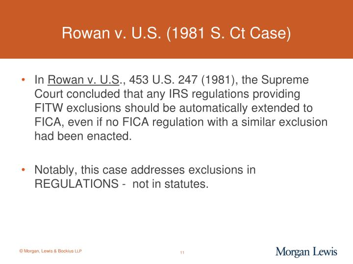 Rowan v. U.S. (1981 S. Ct Case)