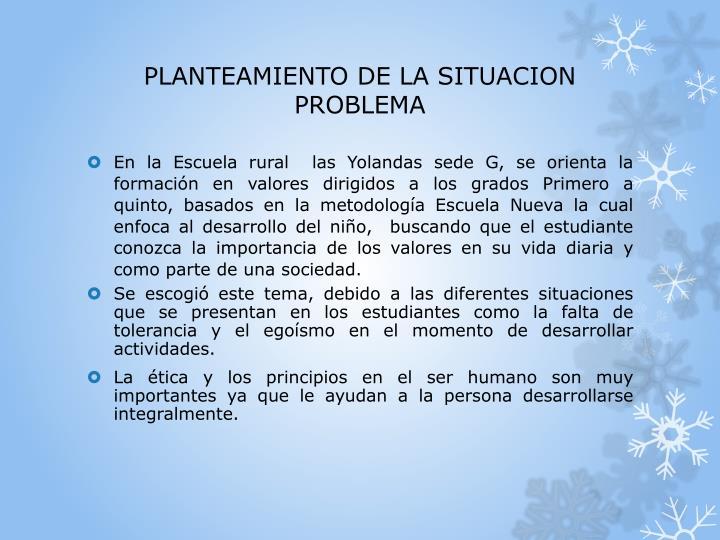 PLANTEAMIENTO DE LA SITUACION PROBLEMA