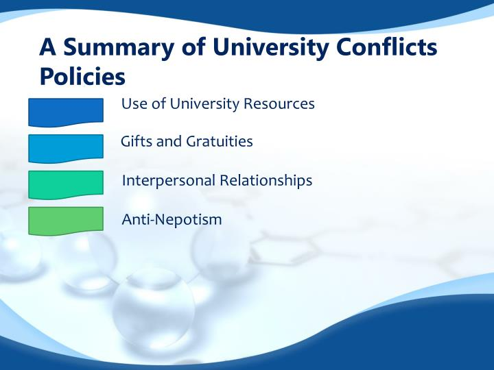 A summary of university conflicts policies1