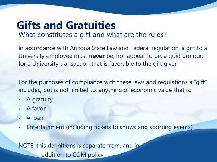 Gifts and Gratuities