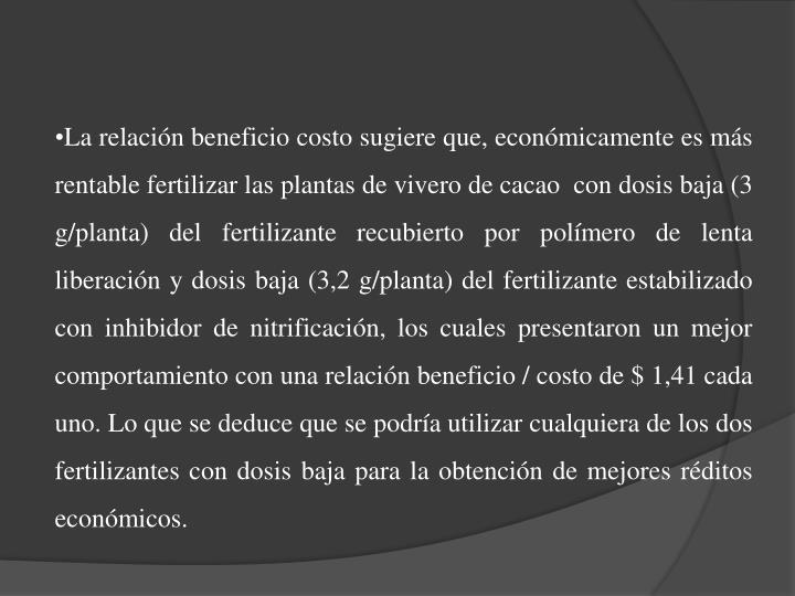 La relación beneficio costo sugiere que, económicamente es más rentable fertilizar las plantas de vivero de cacao  con dosis baja (3 g/planta) del fertilizante recubierto por polímero de lenta liberación y dosis baja (