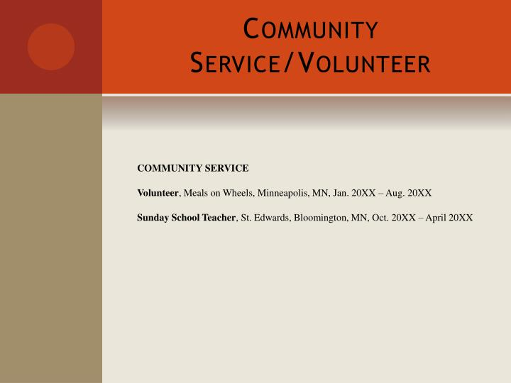 Community Service/Volunteer