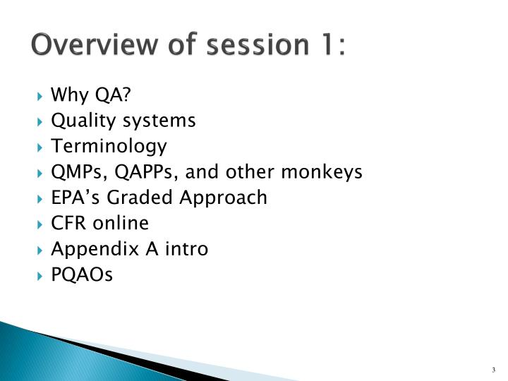 Overview of session 1