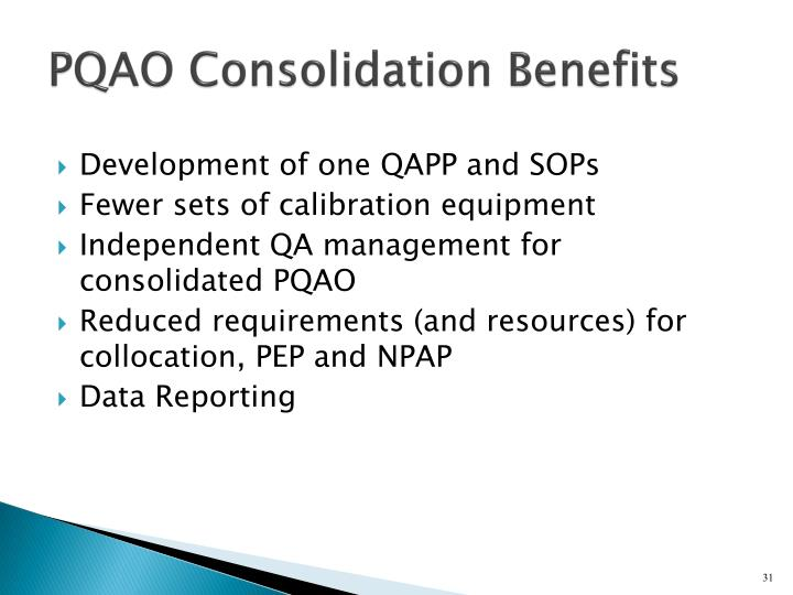 PQAO Consolidation Benefits