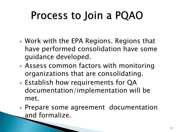 Process to Join a PQAO