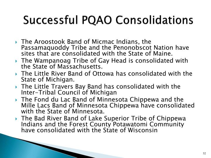 Successful PQAO Consolidations