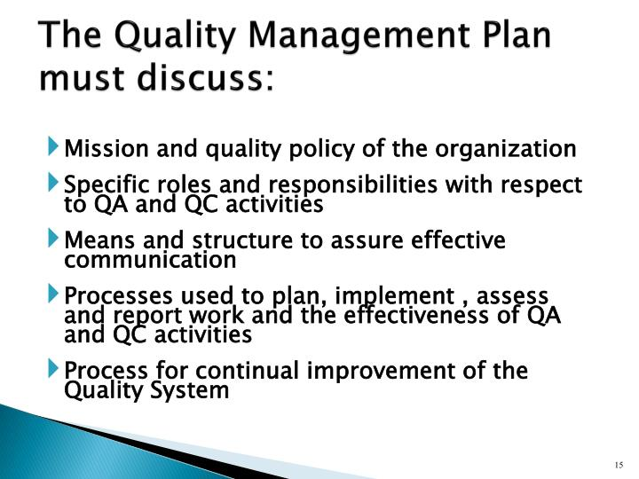The Quality Management Plan must discuss: