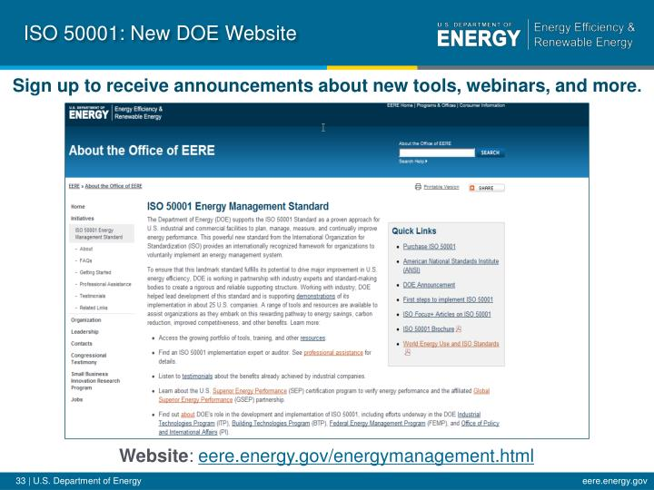 ISO 50001: New DOE Website