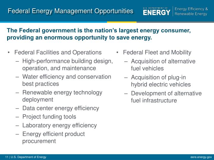 Federal Energy Management Opportunities