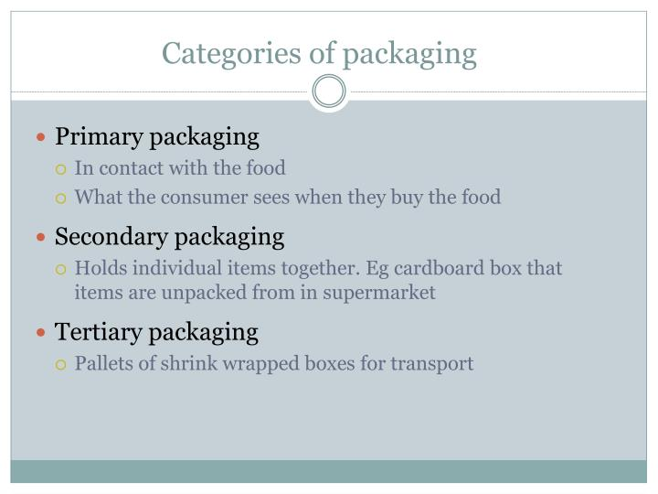 Categories of packaging