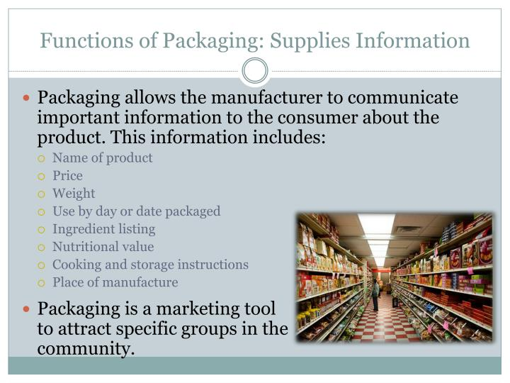 Functions of Packaging: Supplies Information
