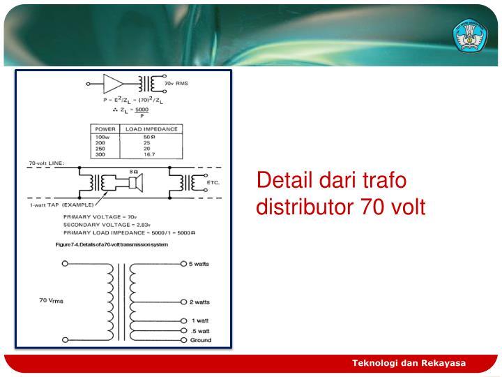Detail dari trafo distributor 70 volt
