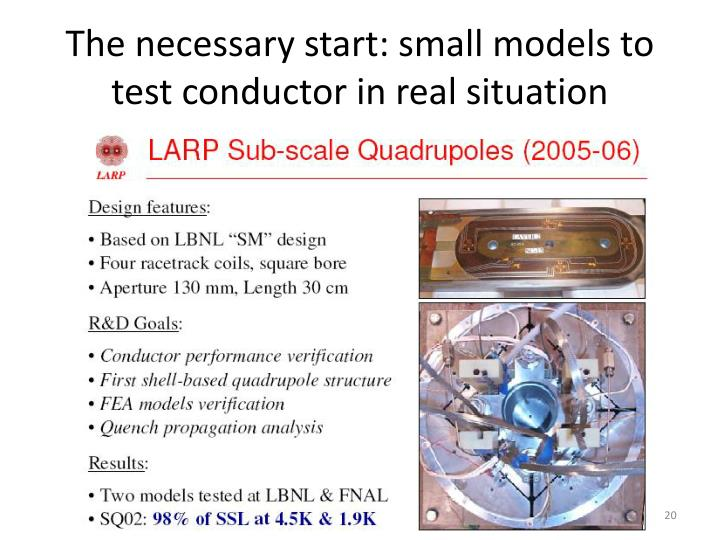 The necessary start: small models to test conductor in real situation