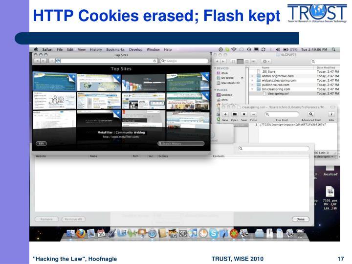 HTTP Cookies erased; Flash kept