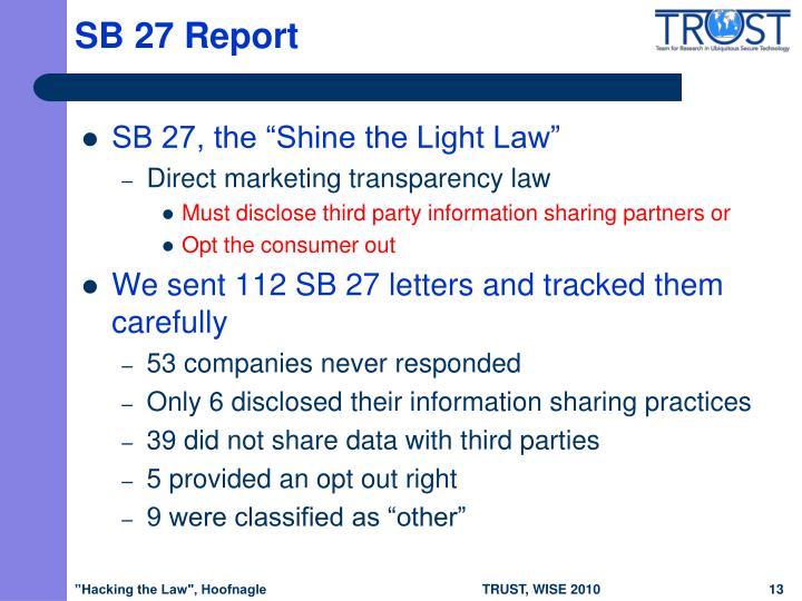 SB 27 Report