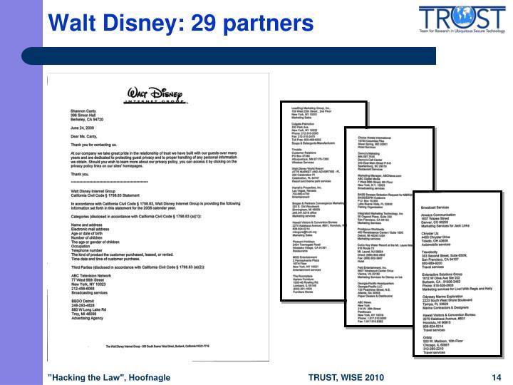 Walt Disney: 29 partners