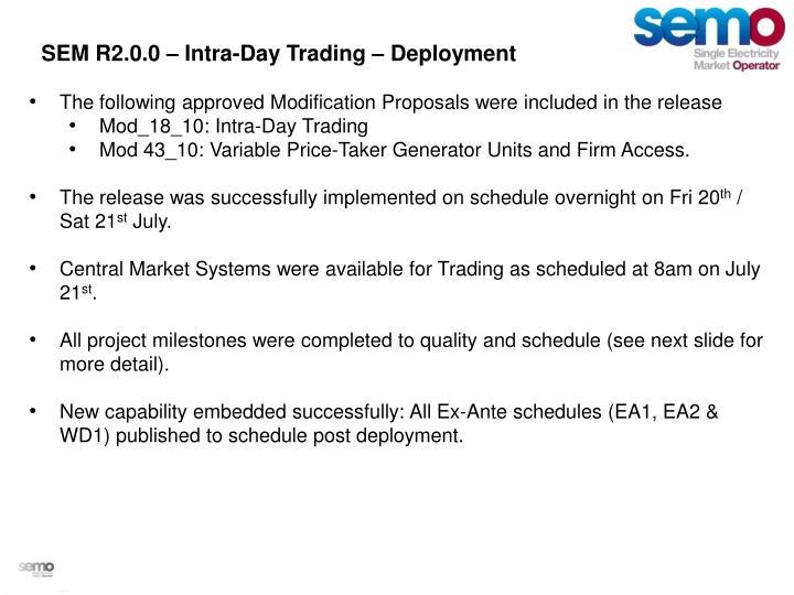 SEM R2.0.0 – Intra-Day