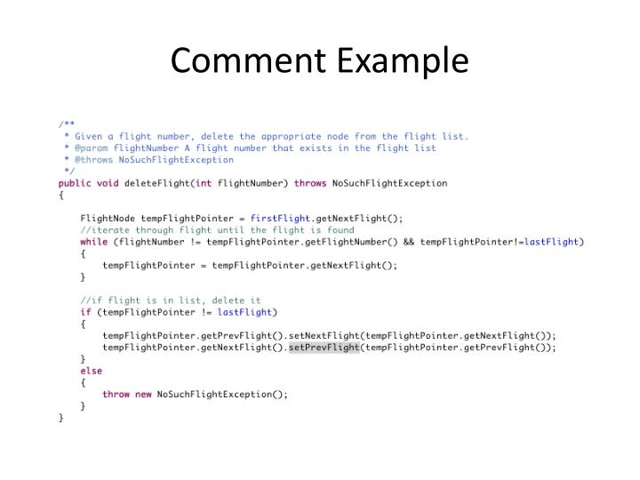 Comment Example