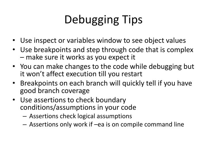 Debugging Tips