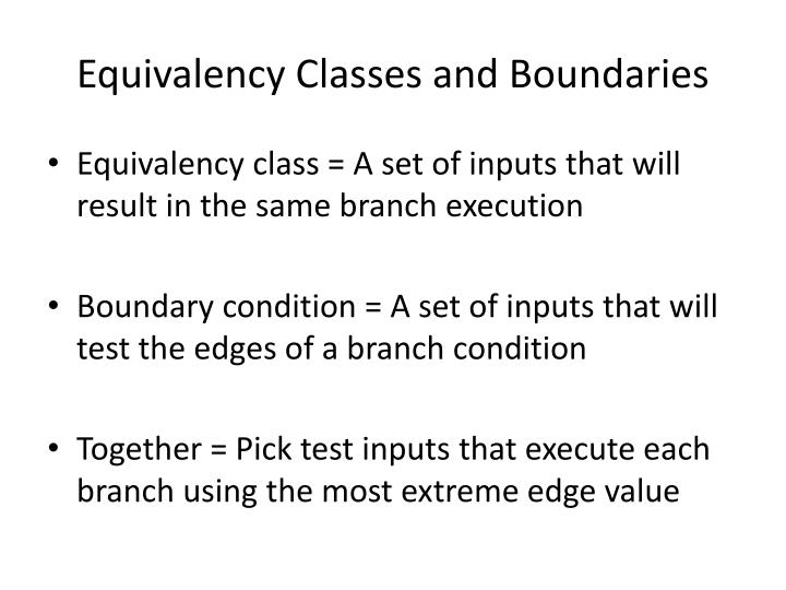 Equivalency Classes and Boundaries