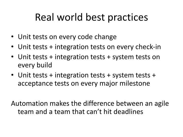 Real world best practices