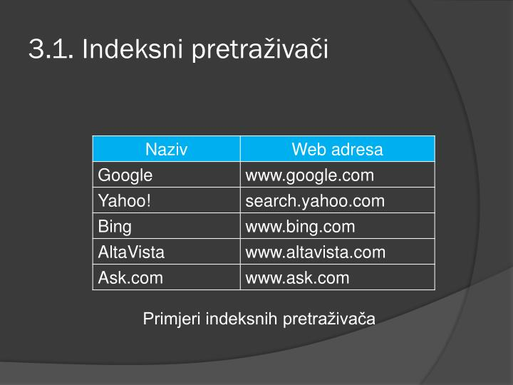 3.1. Indeksni pretraživači