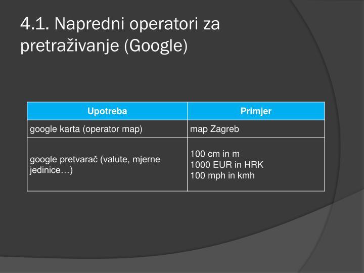 4.1. Napredni operatori za pretraživanje (