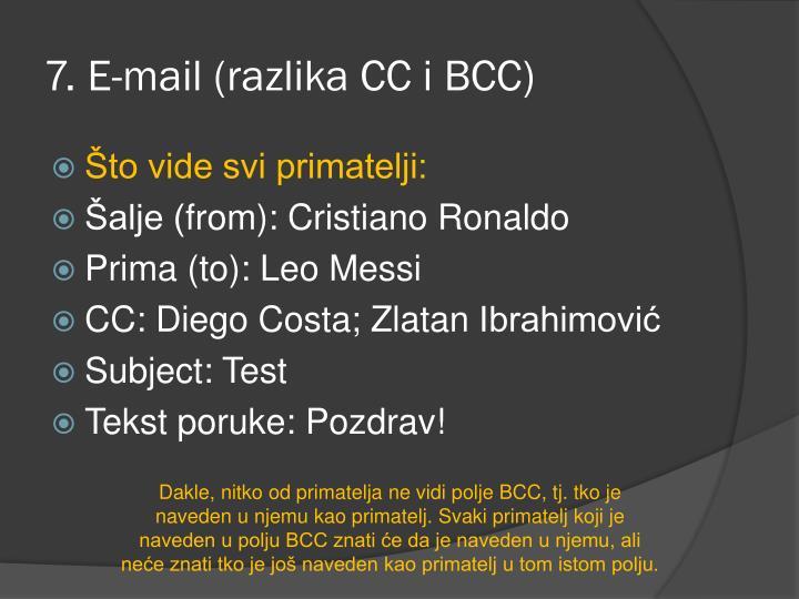 7. E-mail (razlika CC