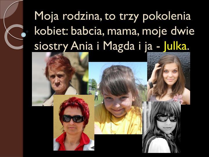 Moja rodzina, to trzy pokolenia kobiet: babcia, mama, moje dwie siostry Ania i Magda i ja -