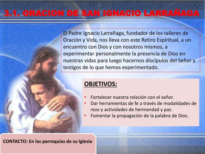 3.1. ORACION DE SAN IGNACIO LARRAÑAGA
