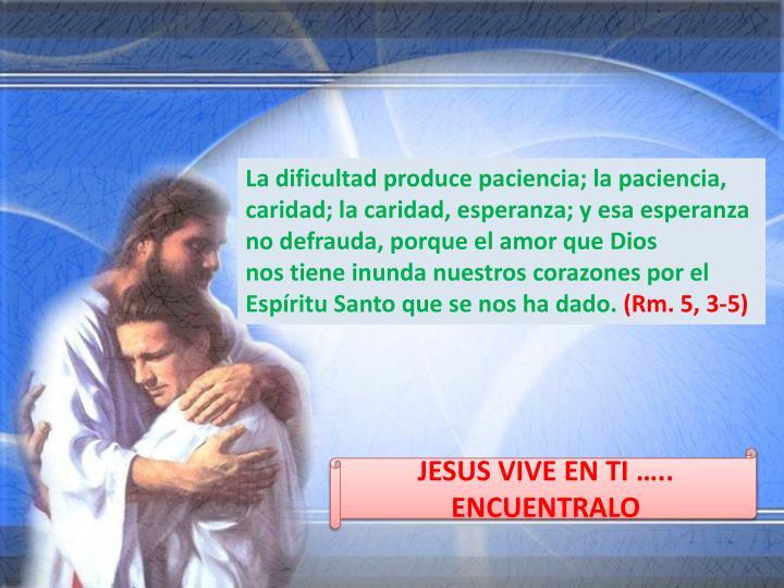 La dificultad produce paciencia; la paciencia, caridad; la caridad, esperanza; y esa esperanza no defrauda, porque el amor que Dios