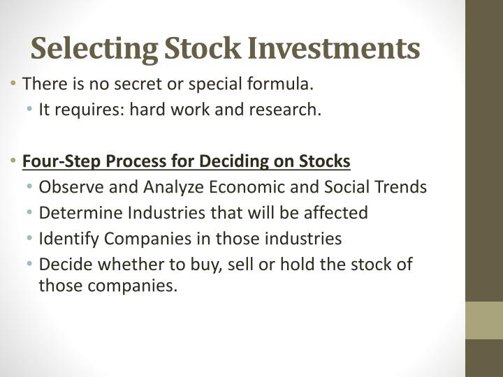 Selecting Stock Investments