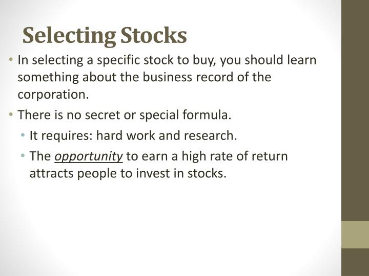 Selecting Stocks