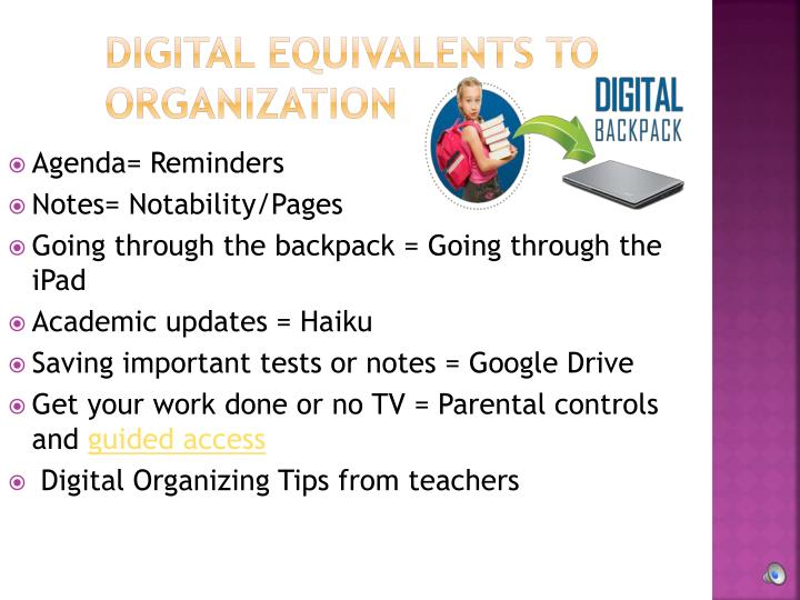 Digital Equivalents to Organization