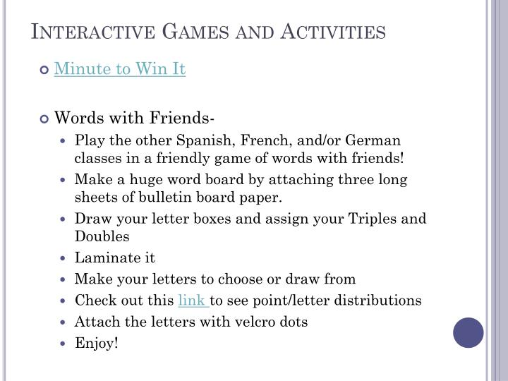 Interactive Games and Activities