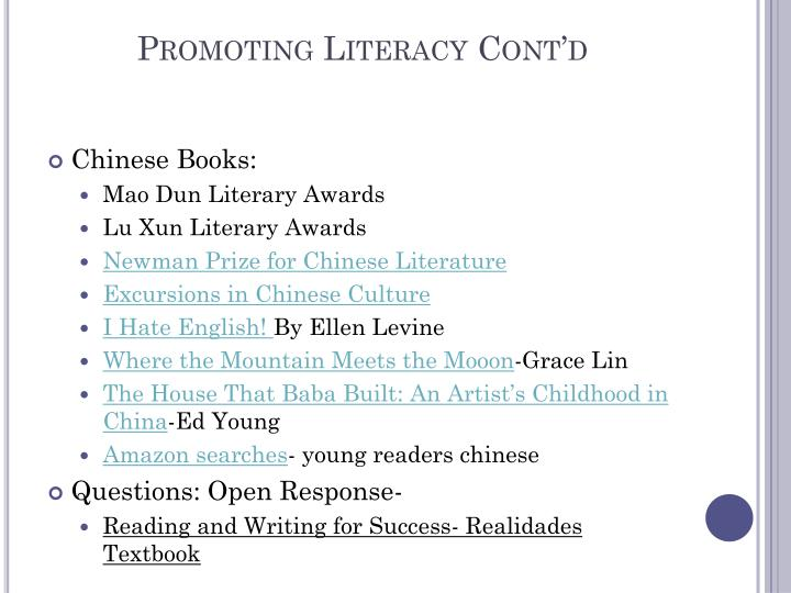 Promoting Literacy Cont'd