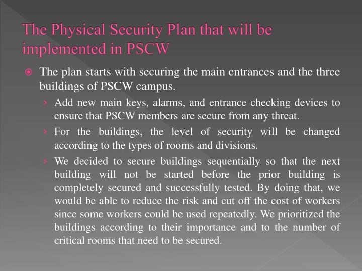 The Physical Security Plan that will be implemented in PSCW