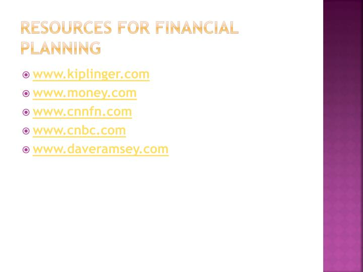 Resources for financial Planning