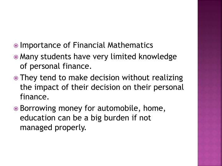 Importance of Financial Mathematics