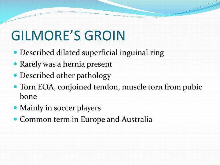 GILMORE'S GROIN