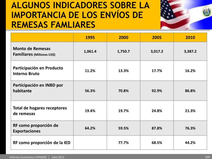 ALGUNOS INDICADORES SOBRE LA IMPORTANCIA DE LOS ENVÍOS DE REMESAS FAMLIARES