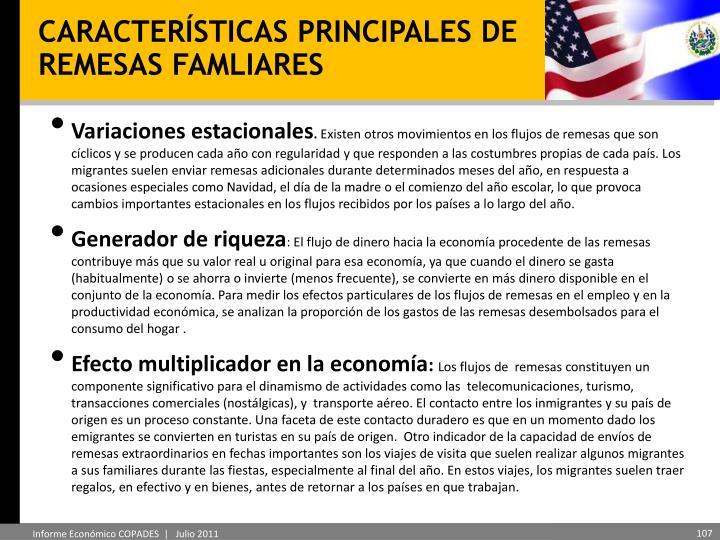 CARACTERÍSTICAS PRINCIPALES DE REMESAS FAMLIARES