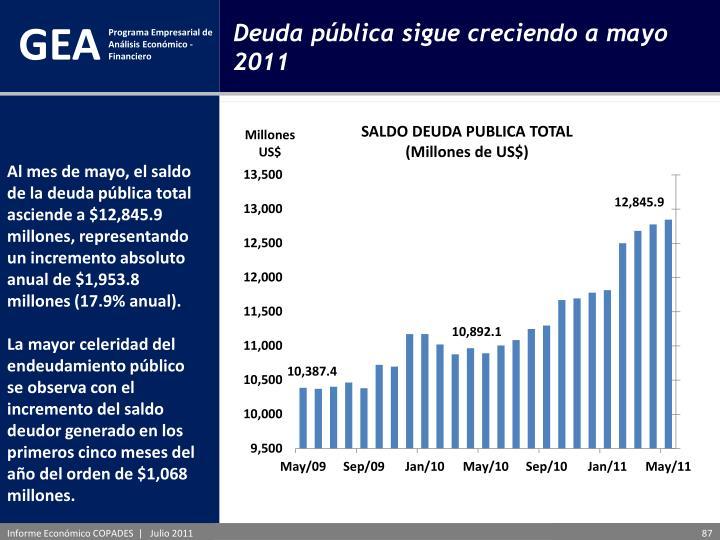 Deuda pública sigue creciendo a mayo 2011