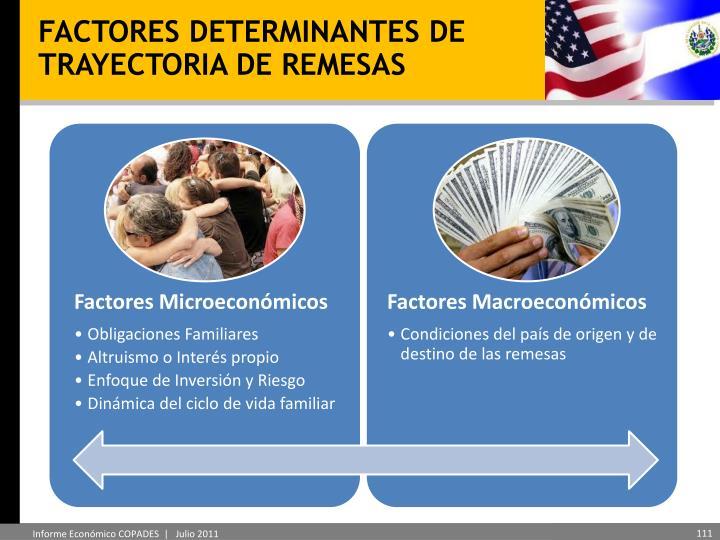 FACTORES DETERMINANTES DE TRAYECTORIA DE REMESAS