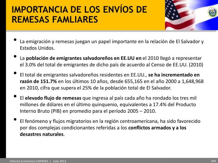 IMPORTANCIA DE LOS ENVÍOS DE REMESAS FAMLIARES